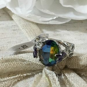 Mystic Topaz And Amethyst Fashion Ring